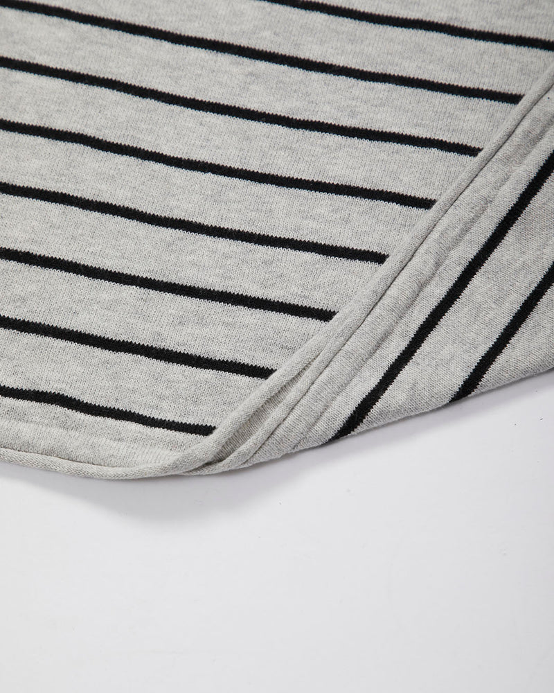 The Idle Man - Stripe Raglan Knitted Jumper Grey