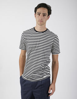 The Idle Man - Stripe T-Shirt Navy