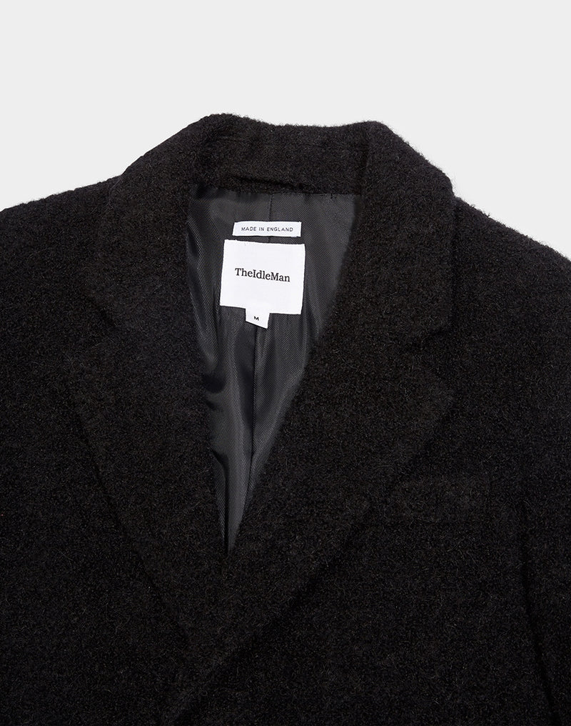 The Idle Man - Made in England Textured Overcoat Black