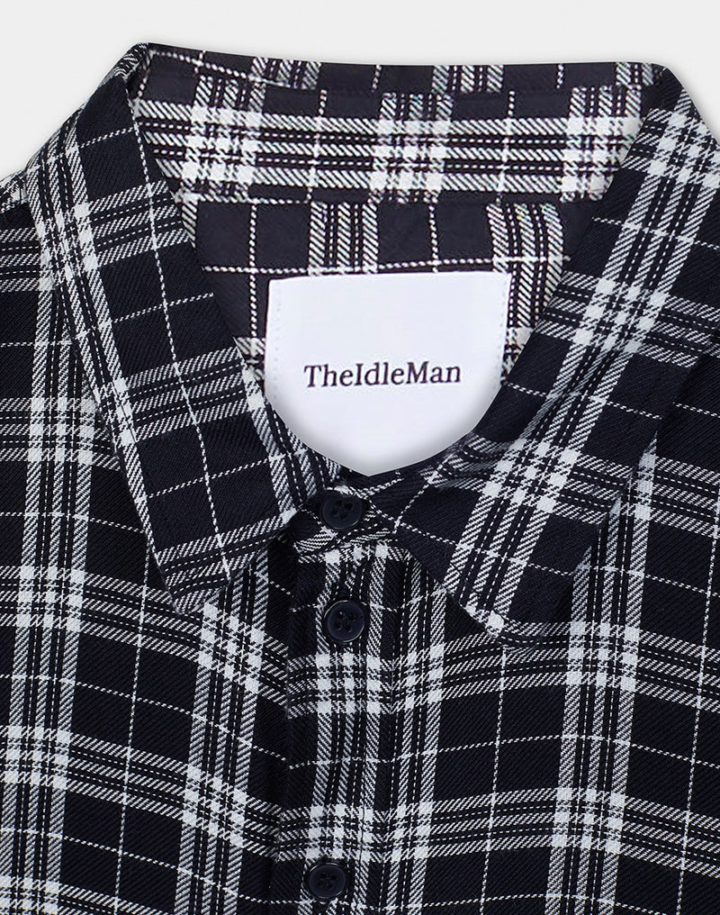 The Idle Man - Viscose Check Shirt Black