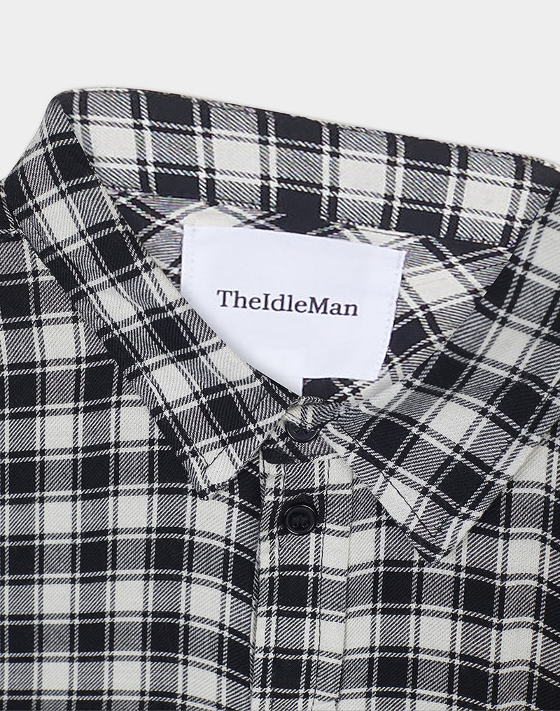 The Idle Man - Viscose Check Shirt White
