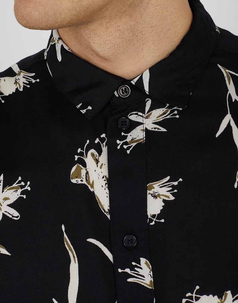 The Idle Man - Viscose Floral Print Shirt Black
