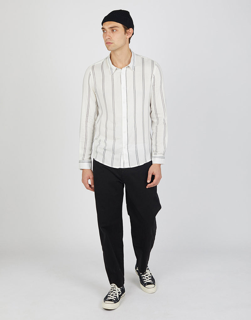 The Idle Man - Viscose Vertical Stripe Shirt White
