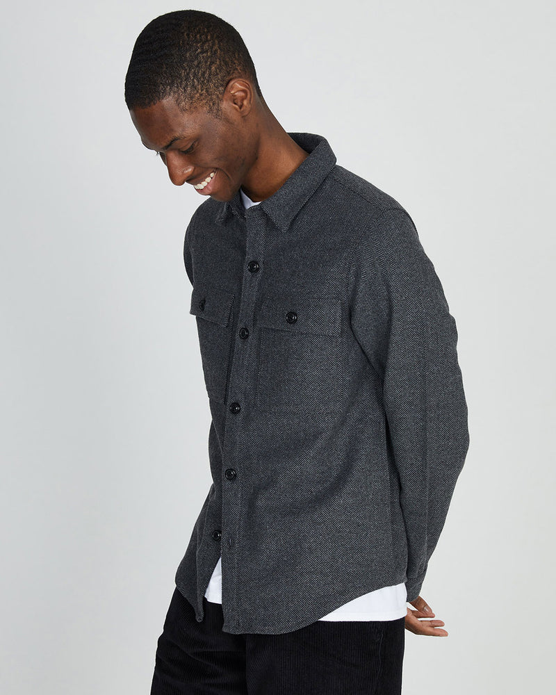 The Idle Man - Wool Overshirt Herringbone Grey
