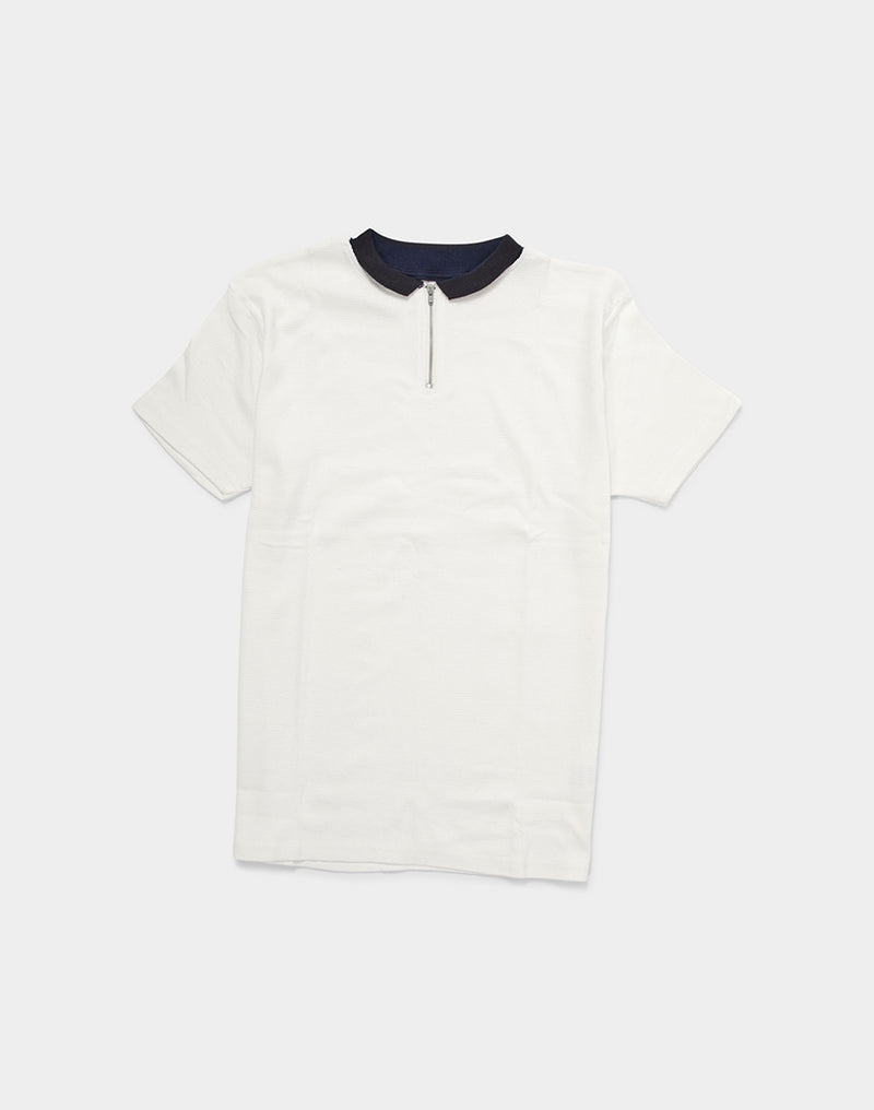 The Idle Man - 1/4 Zip Waffle Polo Shirt Off White