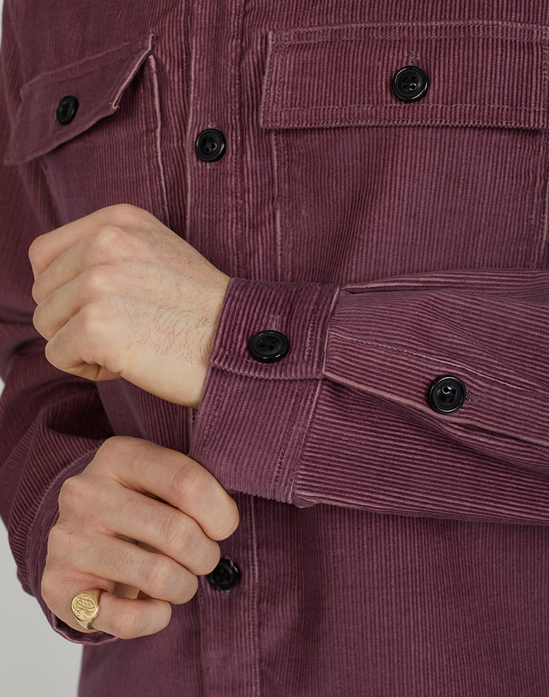 The Idle Man - Corduroy Twin Pocket Overshirt Lilac