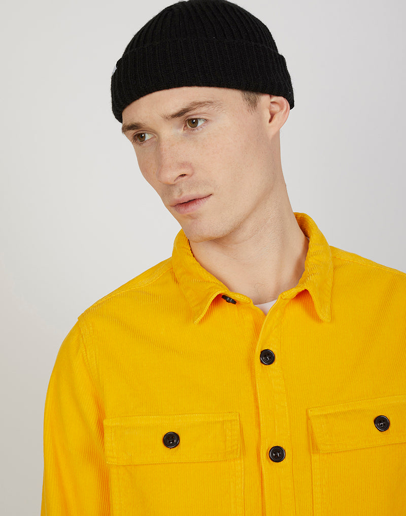 The Idle Man - Corduroy Twin Pocket Overshirt Mustard