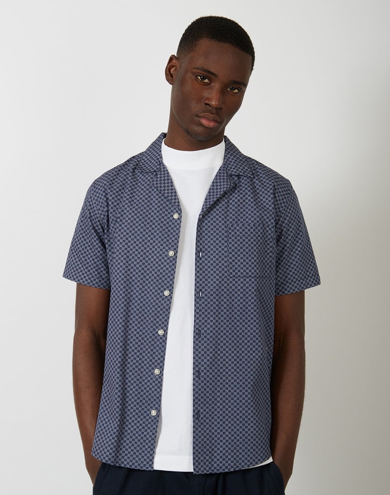 The Idle Man - AOP Navy Revere Collar Shirt Navy