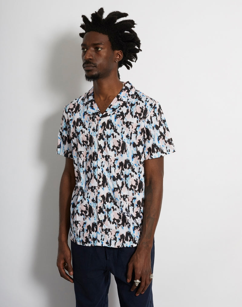 The Idle Man - Abstract Camo Revere Collar Shirt