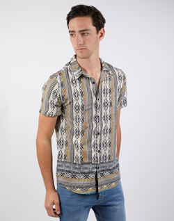The Idle Man - Aztec Stripe SS Revere Shirt Stone