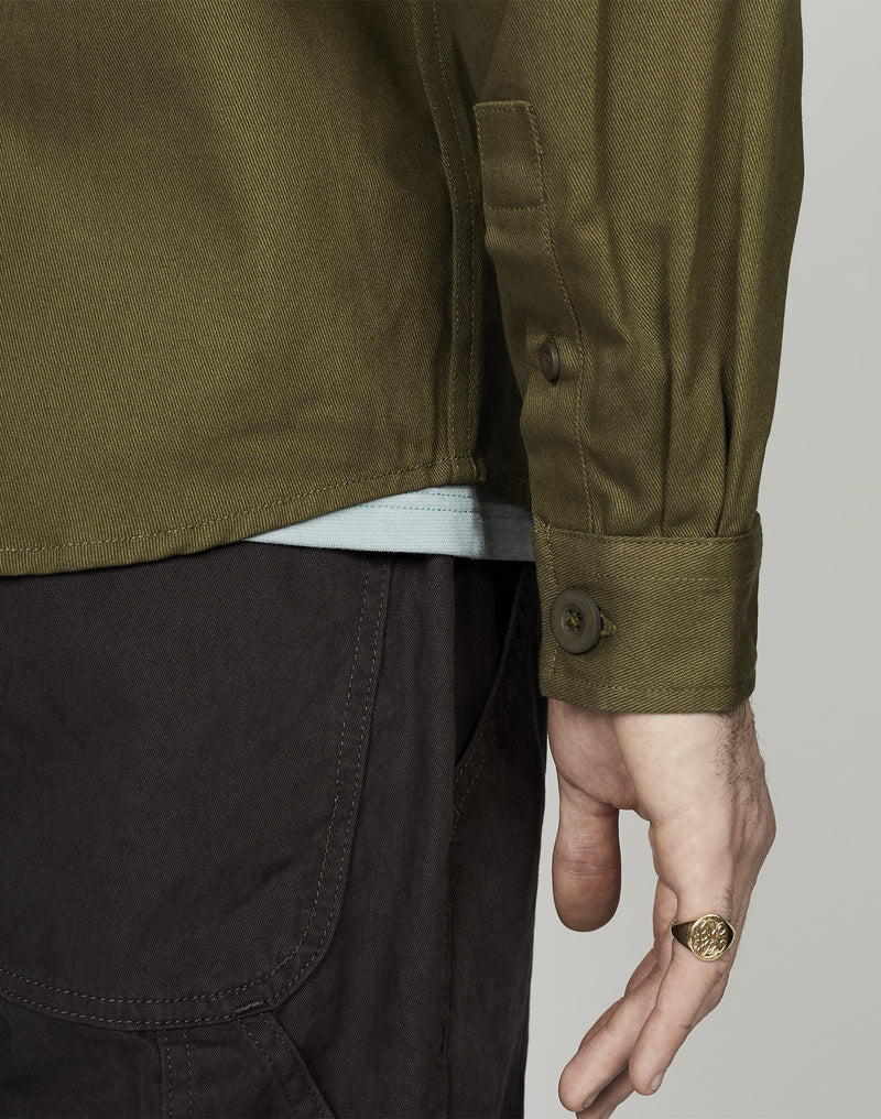 The Idle Man - Workwear Button Overshirt Khaki