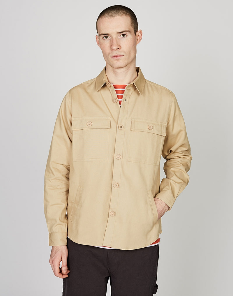 The Idle Man - Workwear Button Overshirt Stone