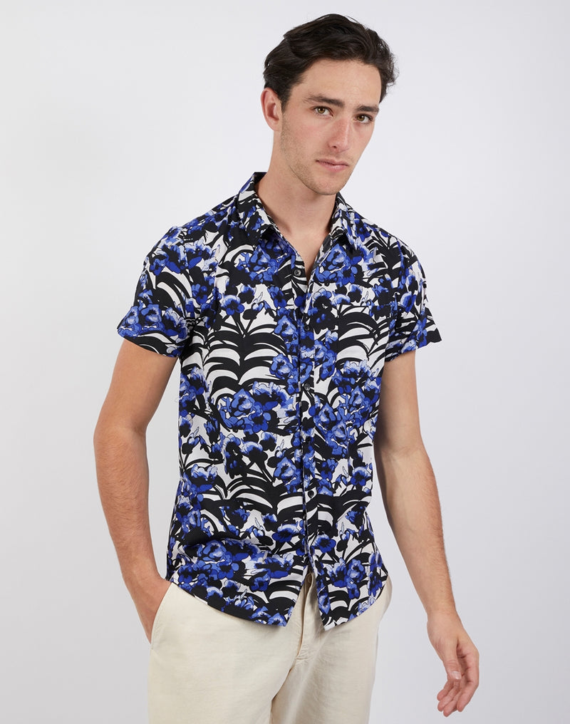 The Idle Man - Navy Floral Print Revere Collar Shirt