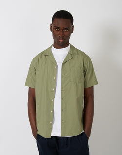 The Idle Man - Revere Collar Shirt Military Green