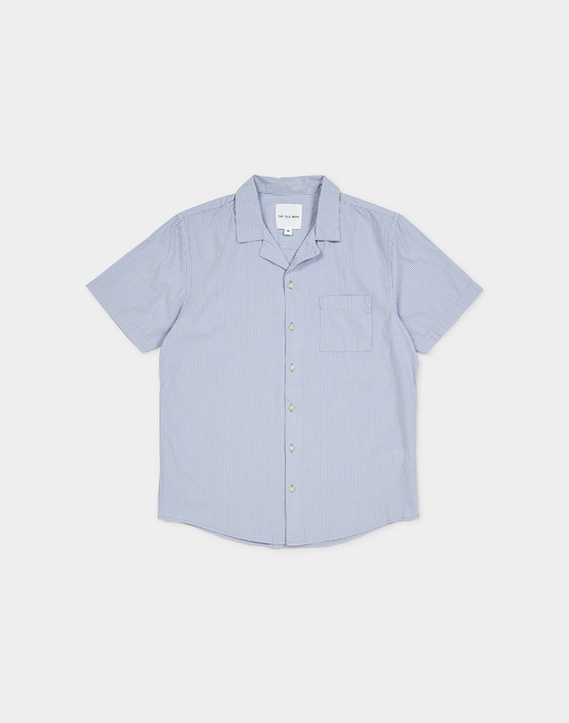 The Idle Man - Stripe Revere Collar Blue and White