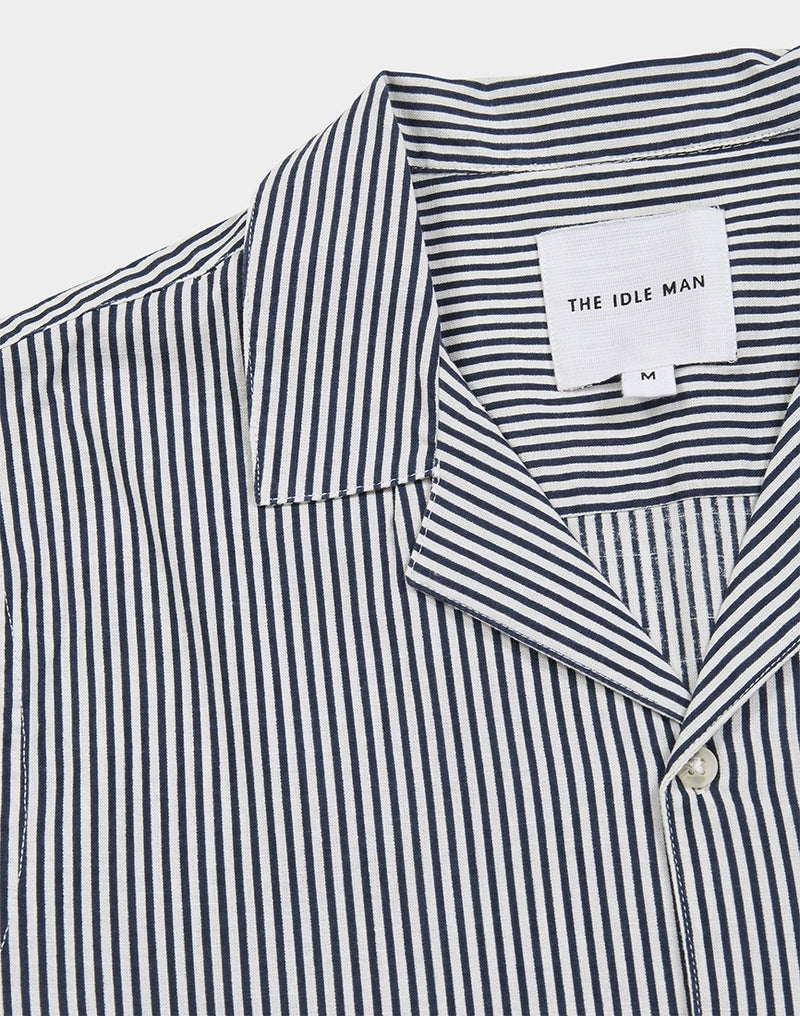 The Idle Man - Stripe Revere Collar White and Black