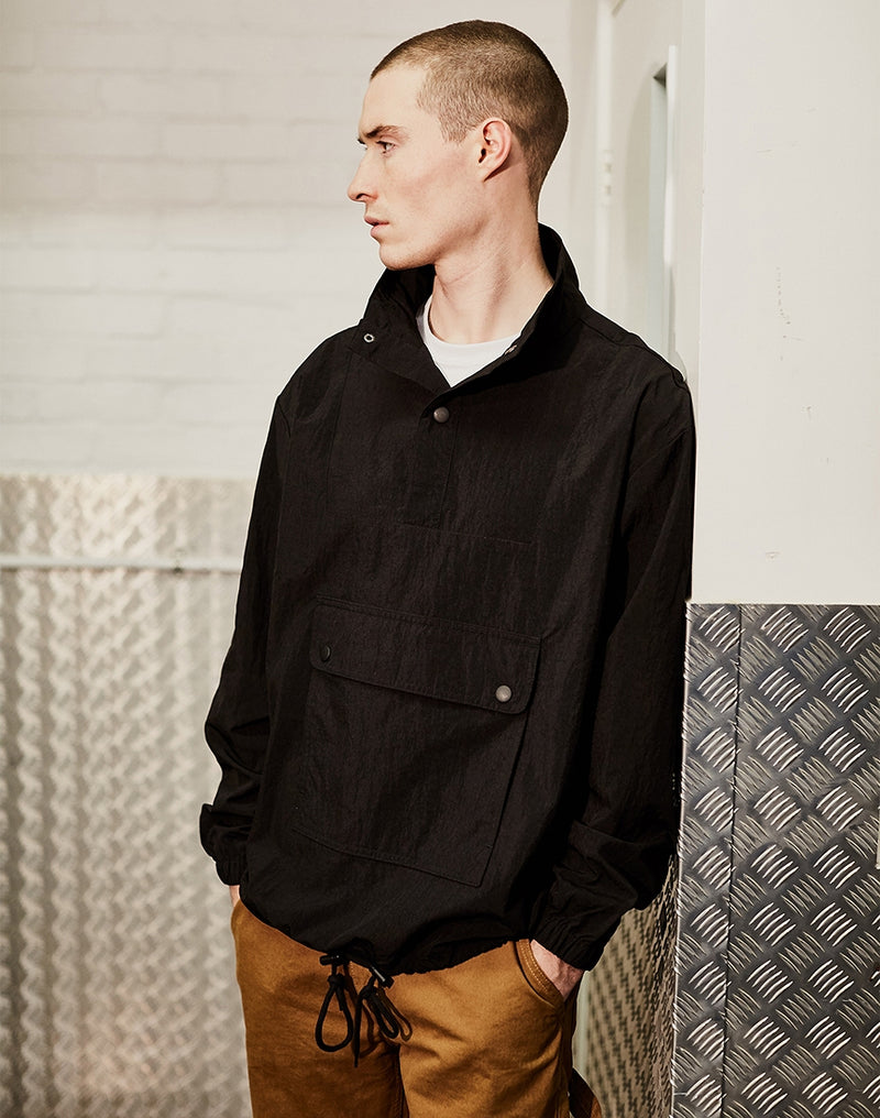 The Idle Man - Tech Funnel Neck Jacket Black