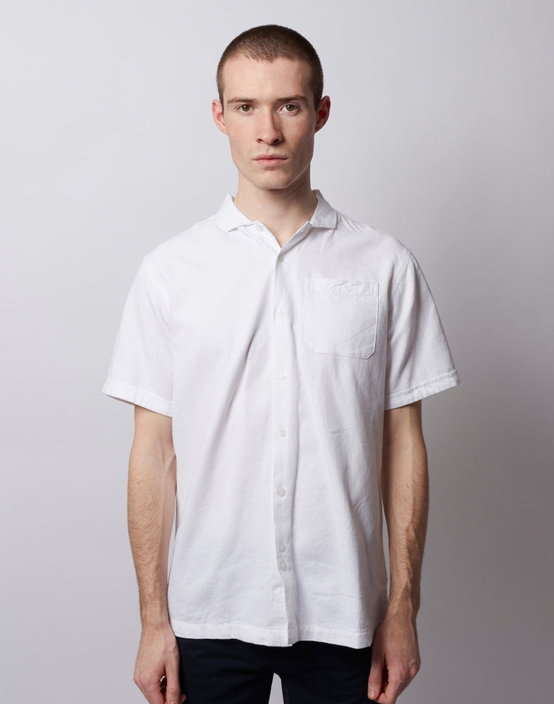 The Idle Man - Textures SS Spread Collar Shirt White