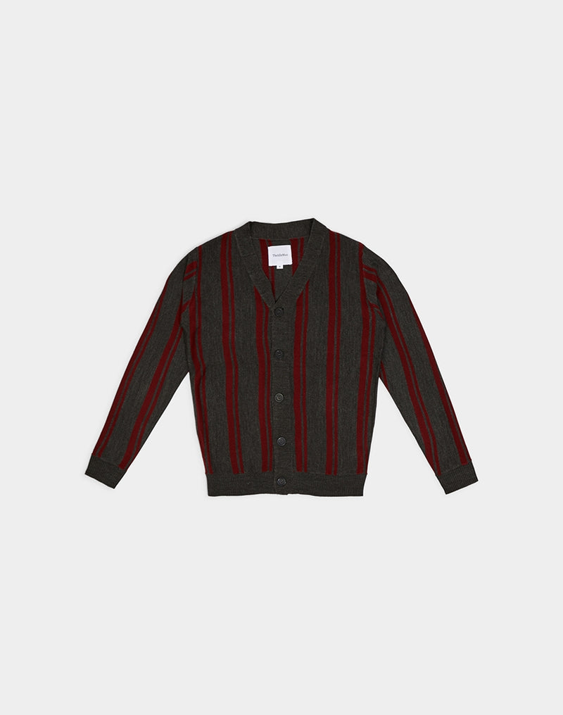 The Idle Man - Vertical Twin Stripe Cardigan Charcoal