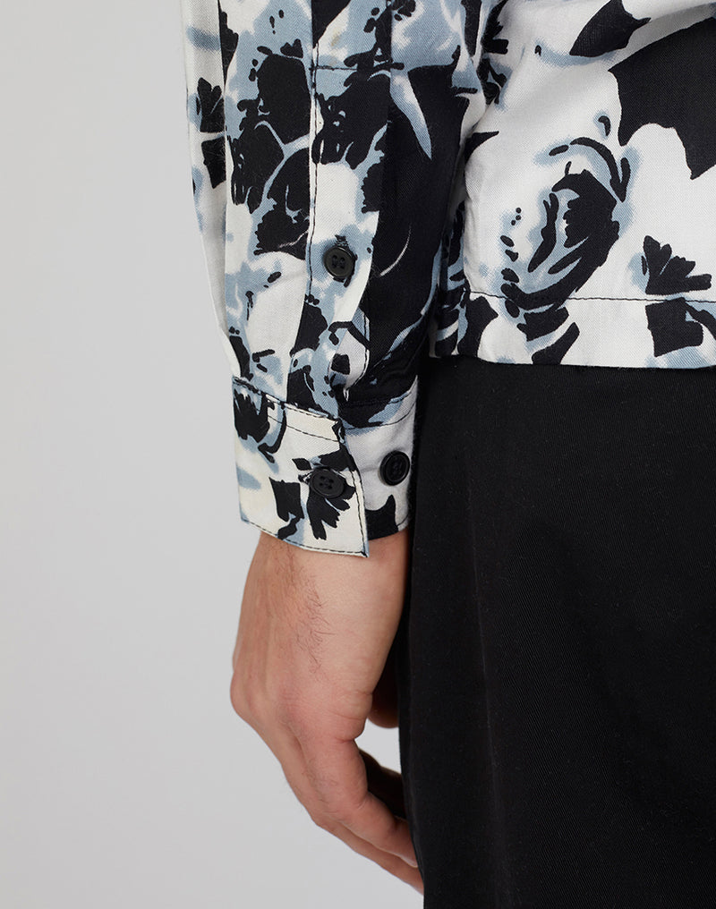 The Idle Man - Viscose Floral Print Shirt White
