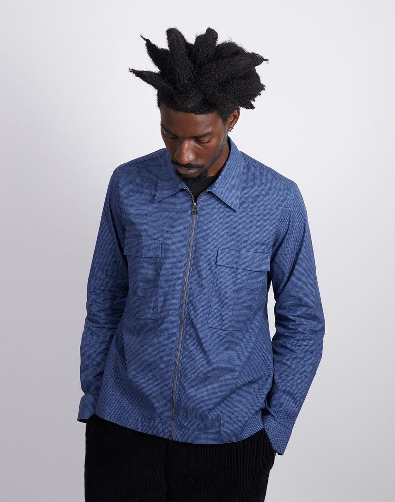 The Idle Man - Zip Front Overshirt Dogtooth Navy