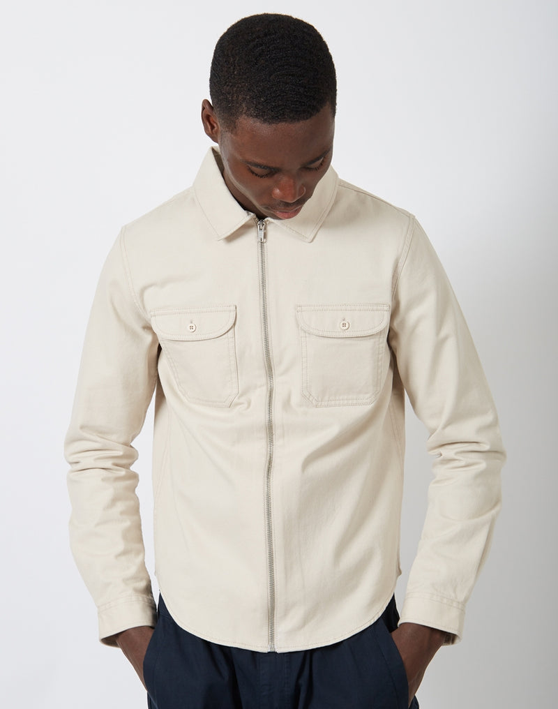 The Idle Man - Zip Overshirt Stone