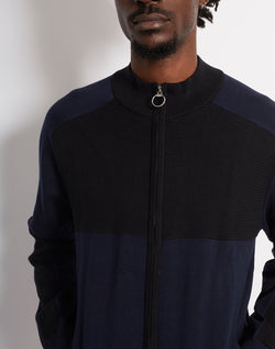 The Idle Man - Zip Through Cut & Sew Track Top Navy