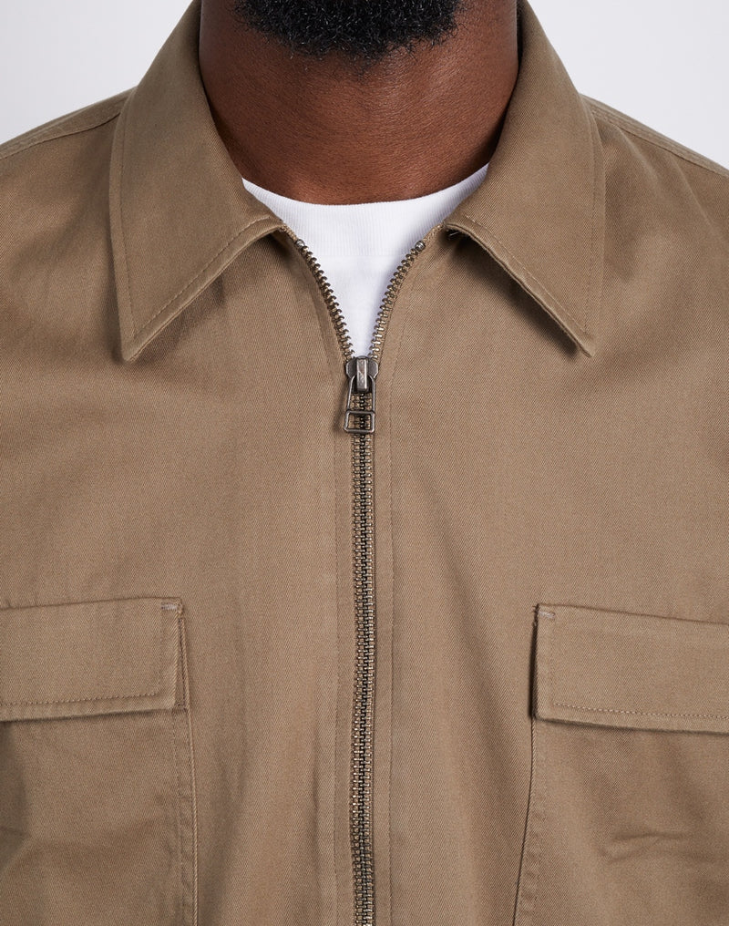 The Idle Man - Zip Front Overshirt Khaki