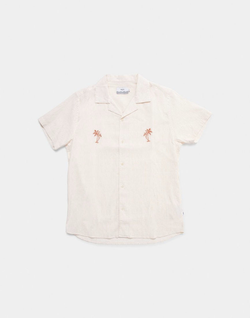 Wax London - Didcot Short Sleeve Shirt Orange
