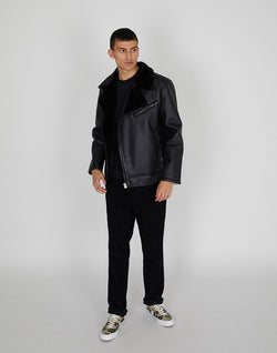 The Idle Man - PU Shearling Jacket Black