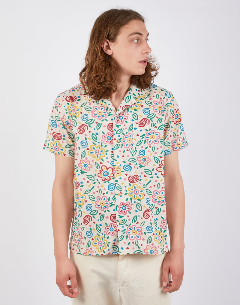 YMC - Malick Shirt in Floral Cream