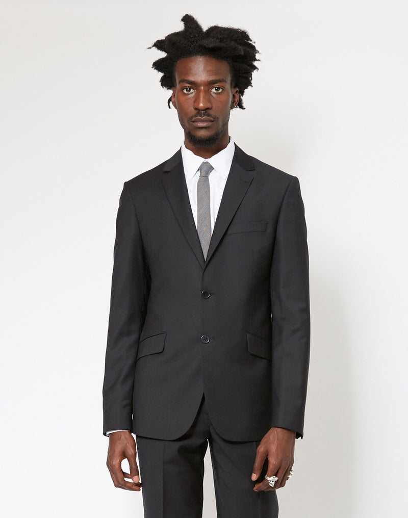 The Idle Man - Slim Fit Wool Suit Jacket Black
