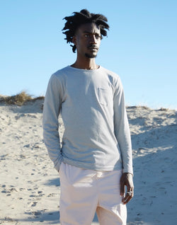 The Idle Man - Long Sleeve Breton Stripe T-Shirt Off White & Navy