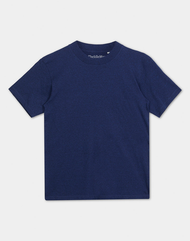 The Idle Man - Organic Cotton High Neck T-Shirt Black Heather Blue