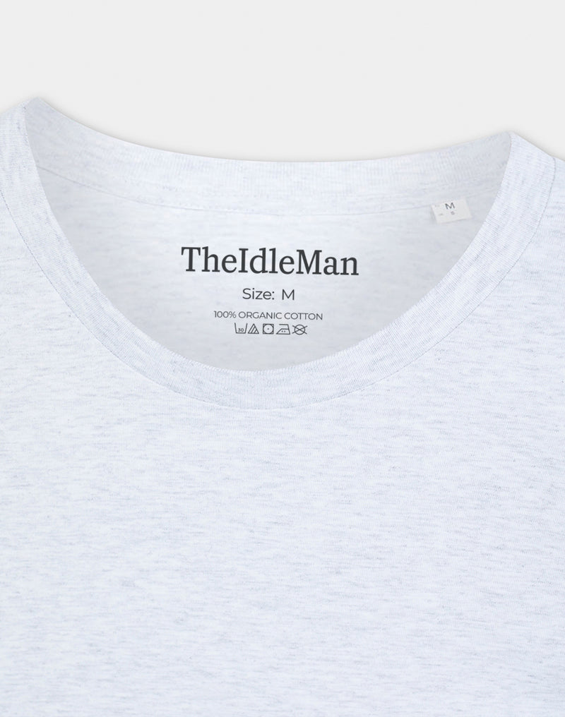 The Idle Man - Organic Cotton Long Sleeve T-Shirt Heather Ash