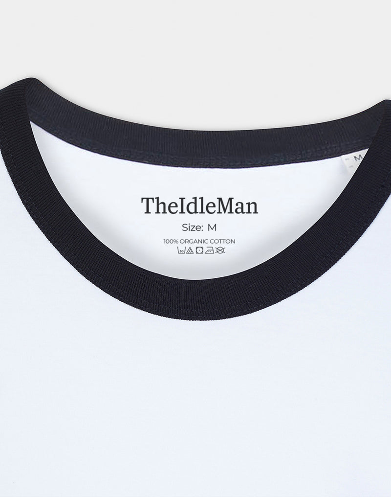 The Idle Man - Organic Cotton Ringer T-Shirt White & Black