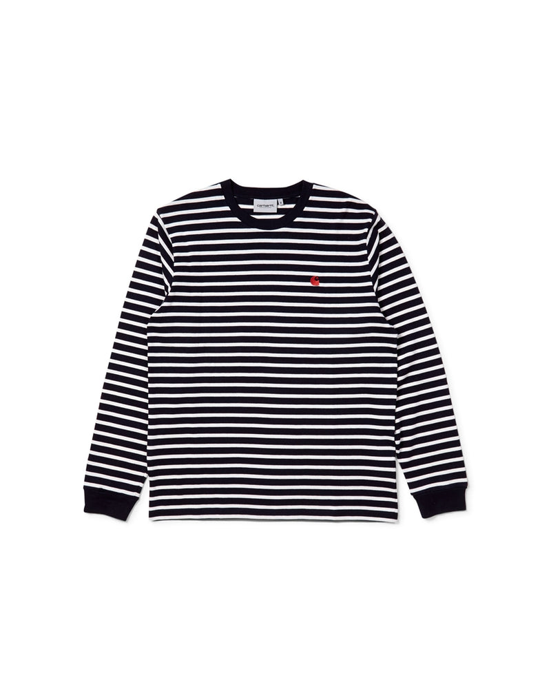 Carhartt WIP - Long Sleeve Robie Striped T-Shirt Dark Navy & Beige