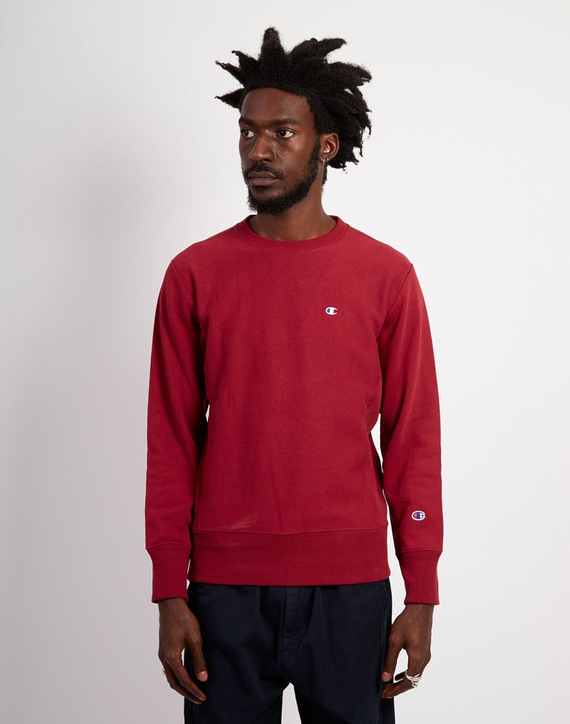 Champion - Classic Crewneck Small Logo Sweatshirt Burgundy