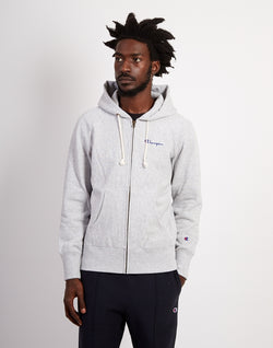 Champion - Classic Small Script Logo Hooded Sweatshirt Heather Grey