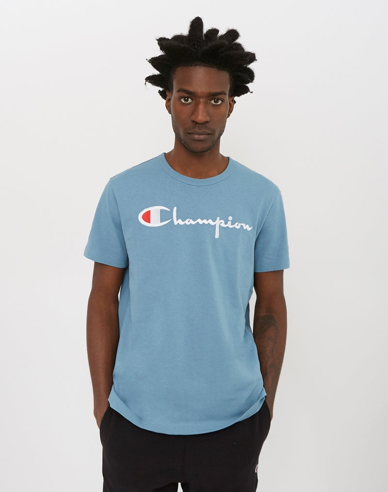 Champion - Reverse Weave Script Logo Short Sleeve T-Shirt Light Blue