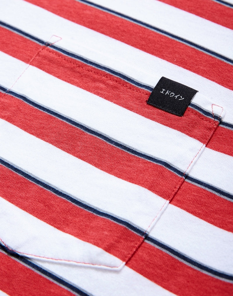 Edwin - Cotton Pocket T-Shirt Striped White