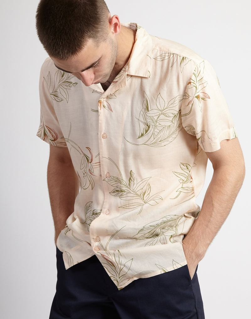 The Idle Man - Floral Viscose Shirt Pink