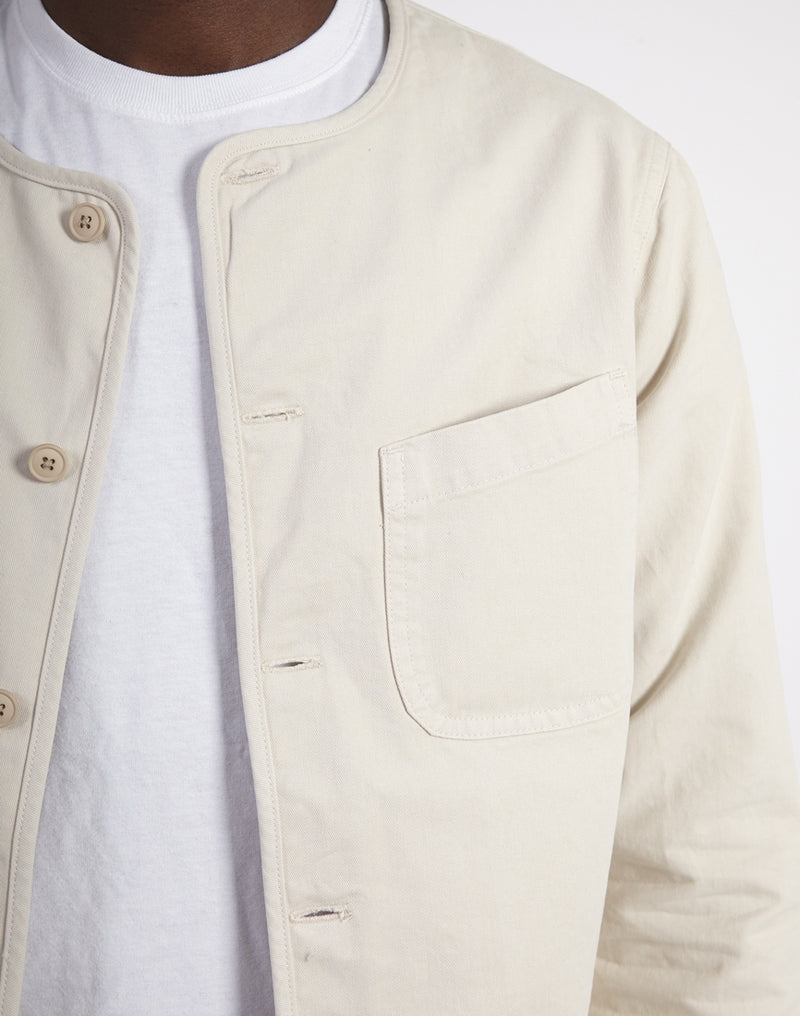 Kestin Hare - Neist Collarless Cotton Overshirt White