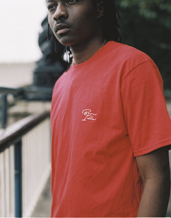 The Idle Man -Born Idle Chest Signature Embroidery T-Shirt Red (white signature)