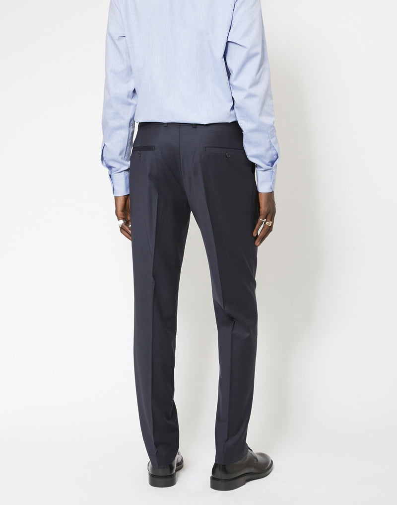 The Idle Man - Slim Fit Pure Wool Suit Trousers Navy