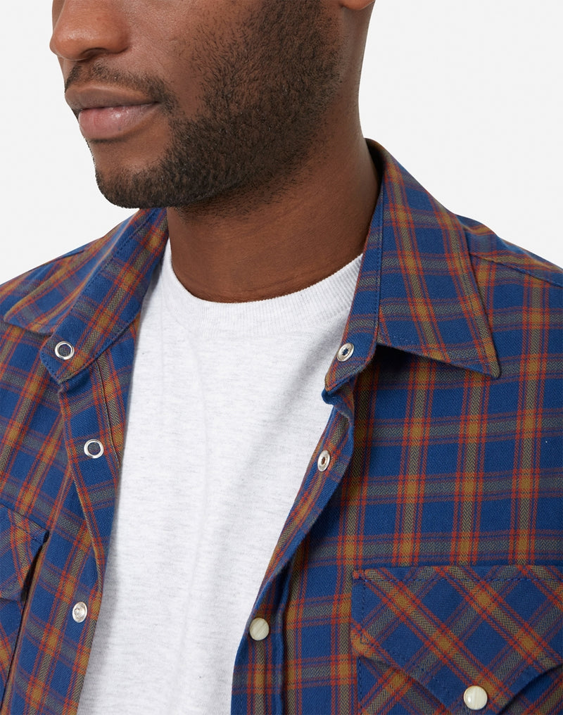 Nudie Jeans Co - Jonis Western Checkered Shirt Blue & Tan