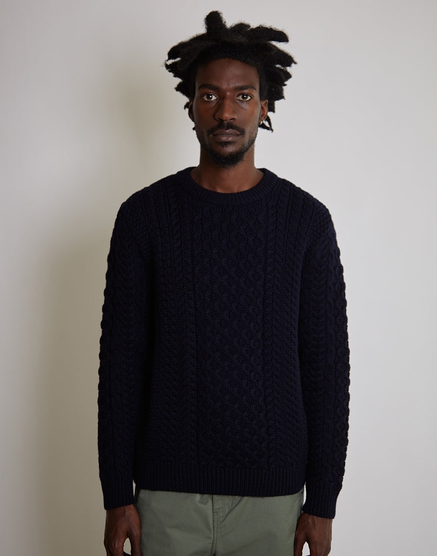 0acd1ac0b689 M. Sunspel. Long Sleeve Cable Crew Neck Sweater Navy