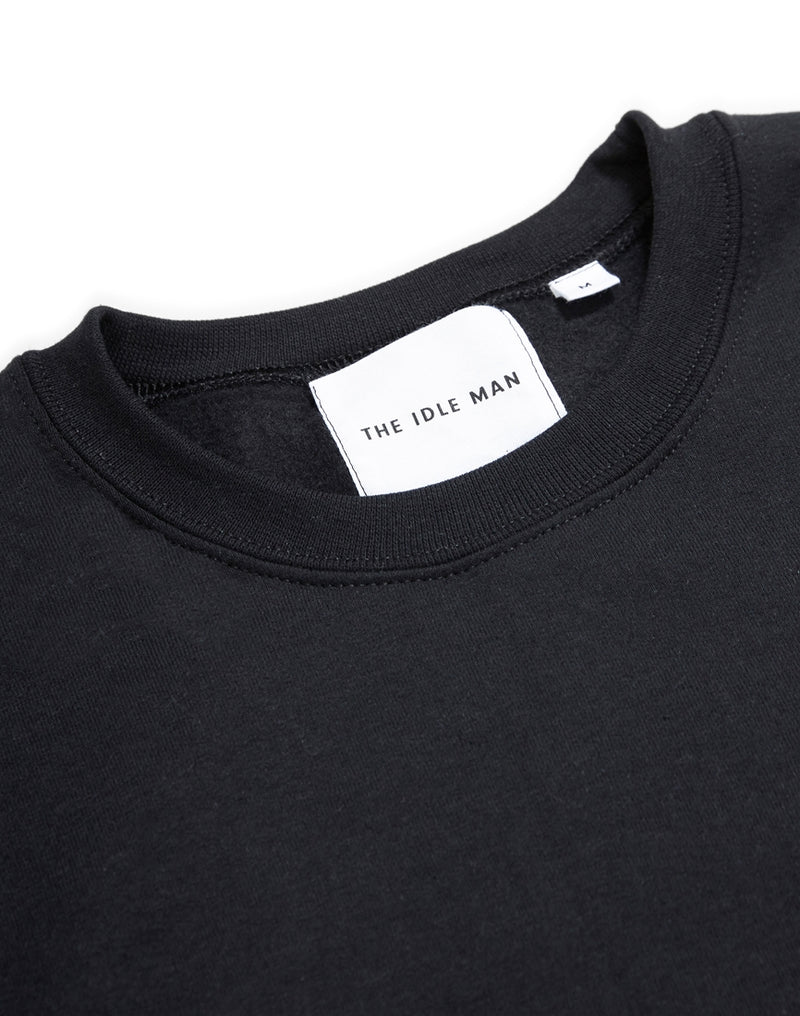 The Idle Man - Anything Once Embroidered Sweatshirt Black