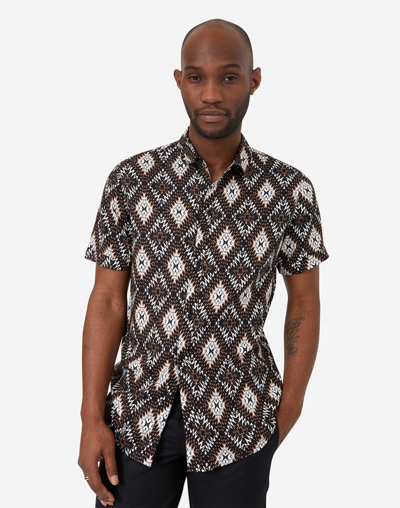 The Idle Man - Aztec PrinT-Shirt Grey & Brown