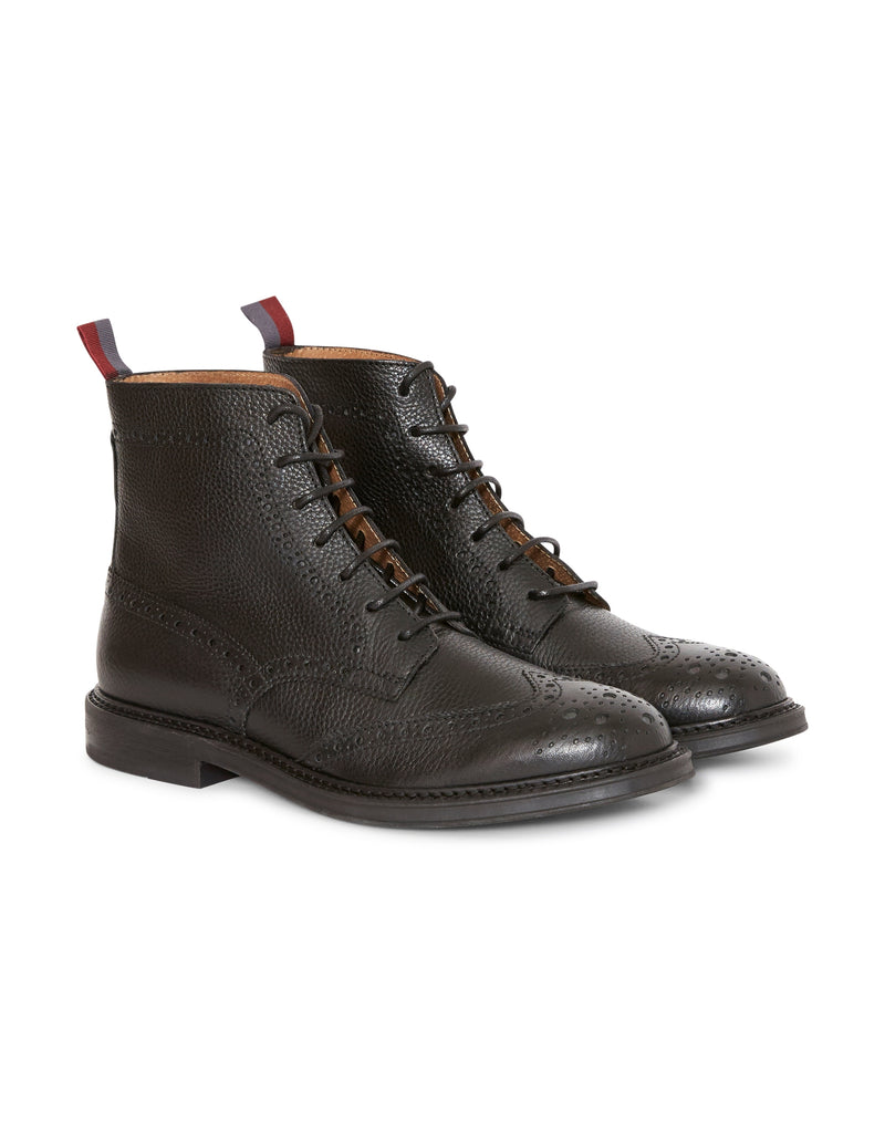 The Idle Man - Leather Brogue Boot Black